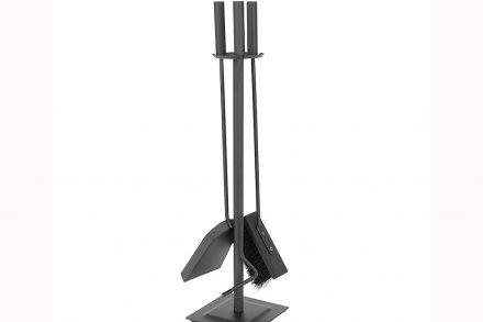Σετ εργαλεία Τζακιού 4 τεμαχίων από ανοξείδωτο ατσάλι με βάση αποθήκευσης
