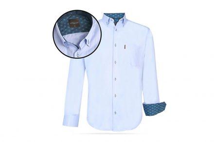 Ανδρικό Πουκάμισο Μακριμάνικο με Γιακά και σχέδιο σε Γαλάζιο χρώμα