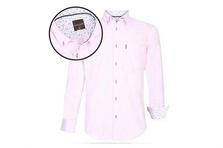 Ανδρικό Πουκάμισο Μακριμάνικο με Γιακά και σχέδιο σε Ροζ χρώμα