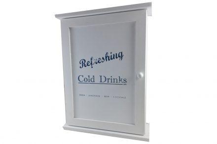 """Ξύλινη Κλειδοθήκη Τοίχου με Ντουλαπάκι και 6 Γάντζους 22x7.5x29cm σε Λευκό χρώμα με θέμα """"Cold Drinks"""" σε Μπλε χρώμα - Cb"""