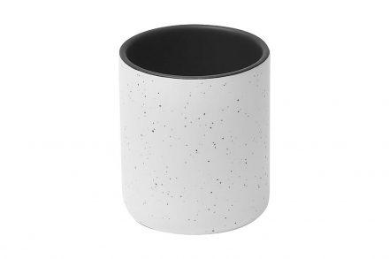Πήλινο Δοχείο Μπάνιου για Οδοντόβουρτσες με σχέδιο πιτσιλιές σε λευκό και μαύρο ματ χρώμα - Aria Trade