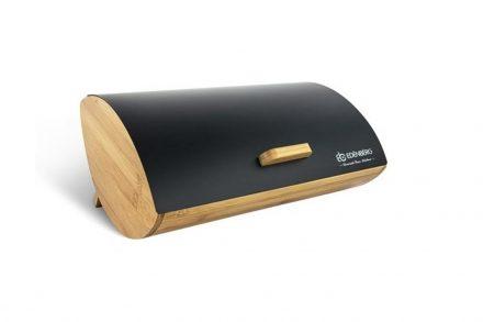 Μεταλλική Ψωμιέρα με βάση από ξύλο Bamboo