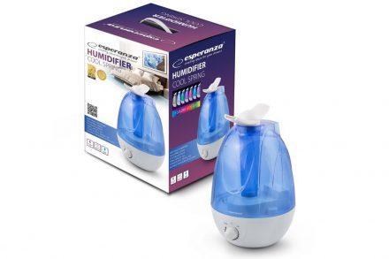 Esperanza Υγραντήρας Cool Spring Τύπου ατμού 3.5L 25W με LED Φωτισμό και 3 Επίπεδα ύγρανσης σε Γαλάζιο / Λευκό χρώμα
