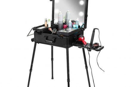 Επαγγελματική Βαλίτσα Μακιγιάζ Φορητό Κομμωτήριο Stand με Καθρέφτη