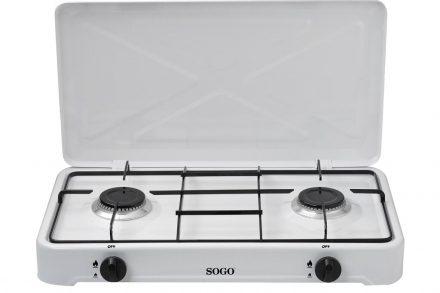 Φορητή Εστία Υγραερίου Βουτανίου με ρύθμιση θερμοκρασίας και δύο εστίες σε Λευκό χρώμα
