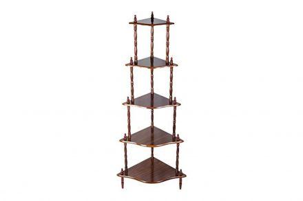 Ξύλινο Έπιπλο Γωνιακή Ραφιέρα με 5 Ράφια σε σκούρο καφέ χρώμα
