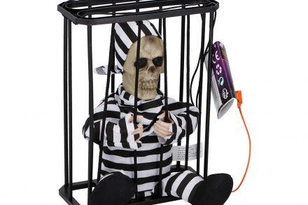 Arti Casa Αποκριάτικο Halloween Παιχνίδι Φυλακισμένος σε Κλουβί που Μιλάει με Αισθητήρα κίνησης και Κουμπί