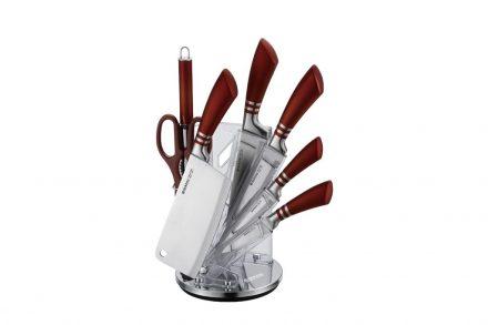 Σετ Μαχαίρια Κουζίνας 8 τεμαχίων από Ανοξείδωτο ατσάλι με εργονομική λαβή σε Καφέ χρώμα και Ακρυλική Βάση