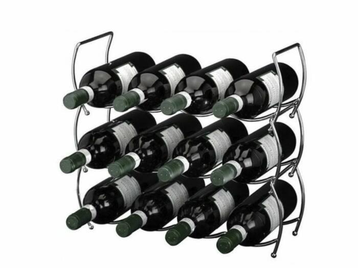 Μεταλλική Κάβα κρασιών Μπουκαλοθήκη για 12 μπουκάλια με 3 αποσπώμενα ράφια