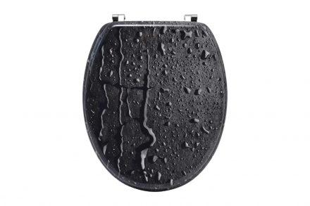 Πλαστικό Καπάκι λεκάνης μπάνιου σε Μαύρο χρώμα με σχέδιο σταγόνες