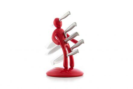Σετ Βουντού Θήκη για Μαχαίρια 5 τεμάχια από Ανοξείδωτο ατσάλι σε Κόκκινο χρώμα