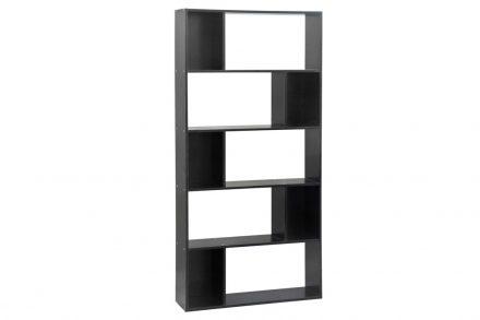 Έπιπλο Ξύλινη Βιβλιοθήκη με 5 Ράφια σε μαύρο χρώμα