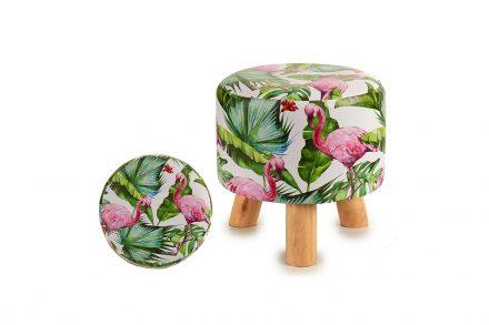 Ξύλινο Σκαμνί Σκαμπό με Υφασμάτινο Κάθισμα και σχέδιο Flamingo