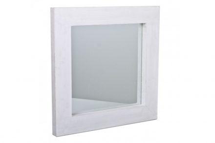 Διακοσμητικός Καθρέφτης Τετράγωνος από Ξύλο και Γυαλί σε Λευκό Χρώμα