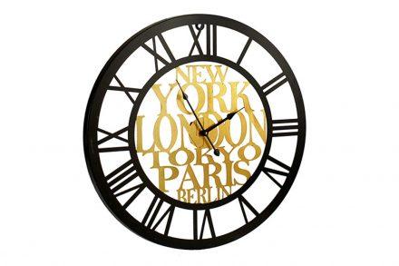 Αναλογικό Μεταλλικό Ρολόι Τοίχου με διαστάσεις 60x60x4.5cm σε μαύρο χρυσό χρώμα - Aria Trade