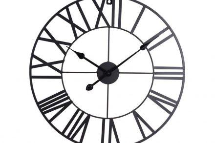 Αναλογικό Μεταλλικό Ρολόι Τοίχου με διαστάσεις 57x57x4cm σε μαύρο χρώμα - Aria Trade
