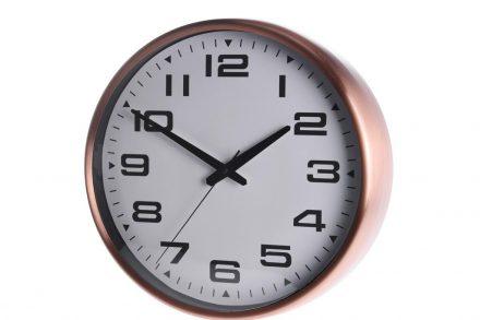 Αναλογικό Μεταλλικό Ρολόι Τοίχου με διαστάσεις 39.5x39.5x11cm σε rose gold χρώμα - Aria Trade