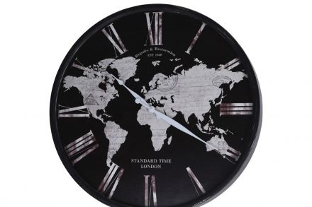 Αναλογικό Μεταλλικό Ρολόι Τοίχου με απεικόνιση χάρτη σε μαύρη απόχρωση