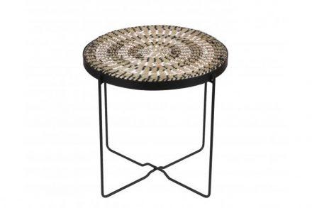 Τραπεζάκι Σαλονιού Μπαλκονιού  Side Table Bohemian Style με επιφάνεια από άχυρο και μεταλλικό σκελετό