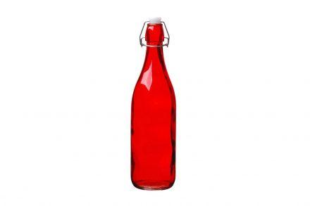 Γυάλινο Μπουκάλι Νερού 1L σε κόκκινο χρώμα με Έλασμα για Αεροστεγές κλείσιμο - Aria Trade
