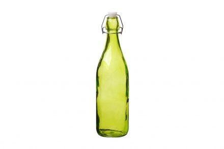 Γυάλινο Μπουκάλι Νερού 1L σε πράσινο χρώμα με Έλασμα για Αεροστεγές κλείσιμο - Aria Trade