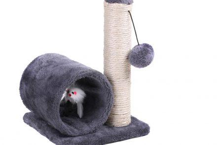 Ονυχοδρόμιο Γάτας με κύλινδρο και pompom σε γκρι χρώμα