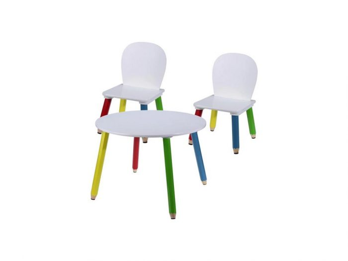 Ξύλινο Σετ Τραπεζάκι με 2 Καρέκλες για παιδιά με πόδια Ξυλομπογιές διαμέτρου 60cm και ύψους 43cm - Aria Trade