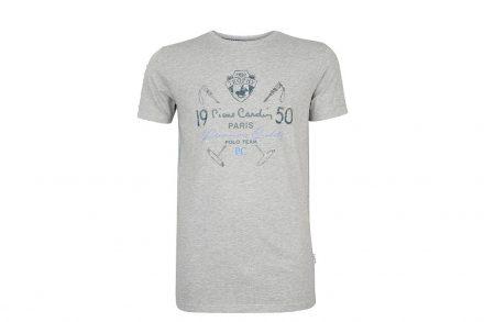 Pierre Cardin Ανδρικό μπλουζάκι T-shirt με τυπωμένη στάμπα και κοντό μανίκι σε χρώμα γκρι