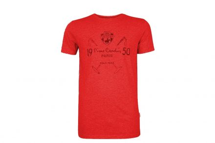 Pierre Cardin Ανδρικό μπλουζάκι T-shirt με τυπωμένη στάμπα και κοντό μανίκι σε χρώμα κόκκινο
