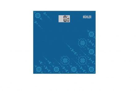 Muhler Γυάλινη Ψηφιακή Ζυγαριά Μπάνιου μεγίστου βάρους 150Kg σε Μπλε χρώμα - Muhler
