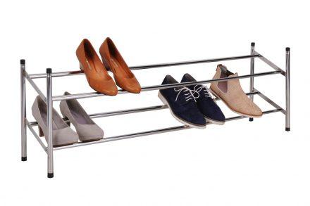 Παπουτσοθήκη Stand για Αποθήκευση Παπουτσιών Inox με 2 επίπεδα 117x23x36cm