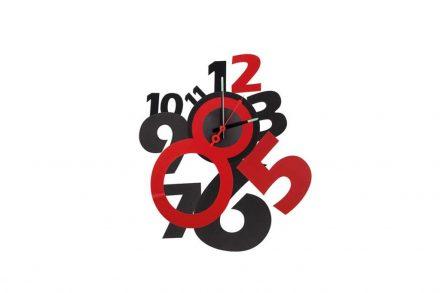 Αναλογικό Ρολόι Τοίχου με διάμετρο 50cm σε μαύρο κόκκινο χρώμα
