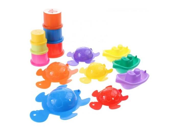 Σετ Παιχνίδια Μπάνιου 14 τεμαχίων σε Διάφορα Χρώματα και σχέδια