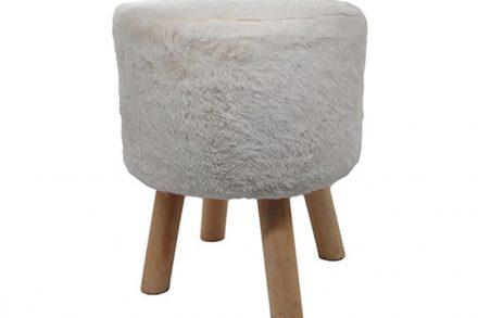Ξύλινο Σκαμνί Σκαμπό με Κάθισμα από Συνθετική Γούνα σε λευκό χρώμα