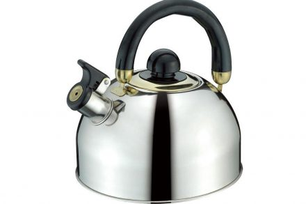 Peterhof Βραστήρας Νερού 2.5L από Ανοξείδωτο Ατσάλι 18/10 με κινούμενη λαβή σε μαύρο χρώμα