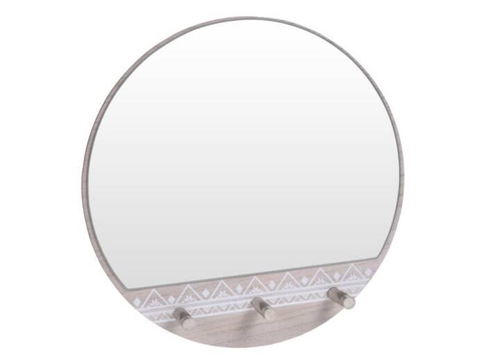 Ξύλινος Στρογγυλός Καθρέφτης Τοίχου