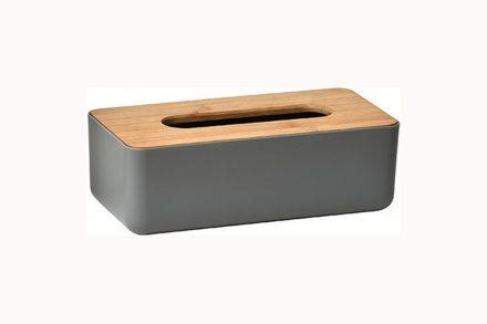 Θήκη για χαρτομάντιλα από Ξύλο Bamboo με ξύλινo καπάκι και πλαστική βάση - Aria Trade