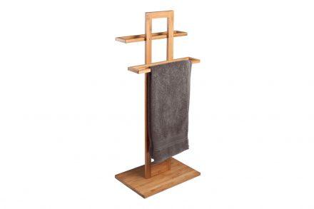 Ξύλινη Κρεμάστρα Δαπέδου 85x37x25 cm με 2 θέσεις για Πετσέτες Μπάνιου από Μπαμπού (Bamboo) - Cb