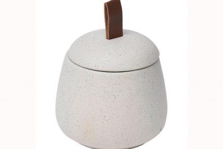 Θήκη μπάνιου για βαμβάκι και για άλλα μικροαντικείμενα διαμέτρου 10 εκατοστών σε λευκό χρώμα - Aria Trade