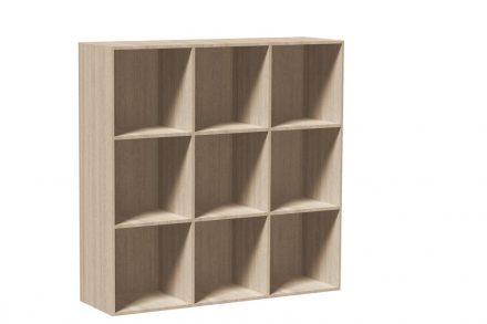 Έπιπλο Ξύλινη Βιβλιοθήκη με 9 τετράγωνα Ράφια σε Φυσικό χρώμα ξύλου