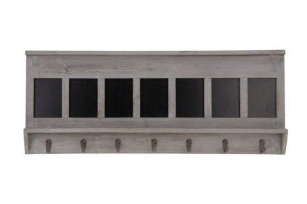 Ξύλινη Κρεμάστρα Vintage για τον Τοίχο με 7 άγκιστρα 90x35x5.5 cm σε Γκρι/Καφέ χρώμα - Cb