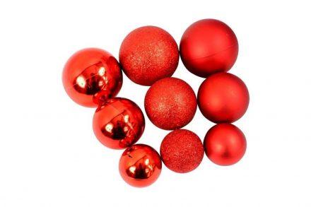 Σετ Χριστουγεννιάτικες Μπάλες 70 Τεμαχίων σε κόκκινο χρώμα