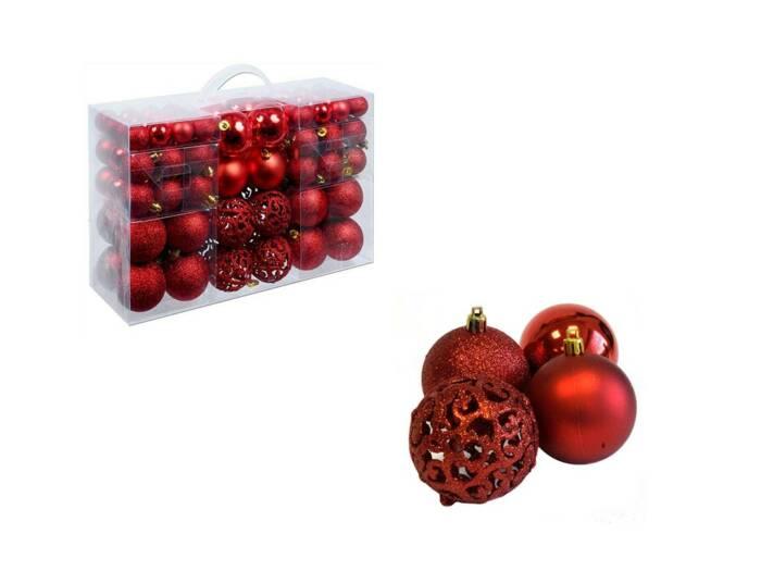 Σετ Χριστουγεννιάτικες Μπάλες 100 Τεμαχίων σε κόκκινο χρώμα