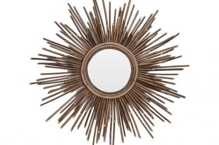 Διακοσμητικός Στρογγυλός Επιτοίχιος Καθρέφτης από ξύλο