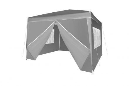 Gazebo Πτυσσόμενο Κιόσκι Τέντα Partytent που κλείνει από 4 πλευρές 3x3cm με Μεταλλικό σκελετό Αλουμινίου Τετράγωνο Αδιάβροχο και Τσάντα Μεταφοράς σε Γκρι Χρώμα