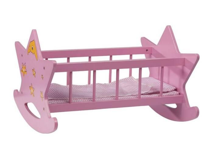 Ξύλινο Παιχνίδι Κούνια για Κούκλες σε ροζ χρώμα