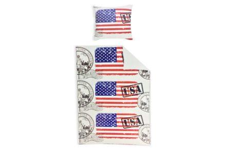 Παπλωματοθήκη Ημίδιπλη 135x200cm & Μαξιλαροθήκη 80x80cm με σχέδιο τη σημαία της Αμερικής και σφραγίδες