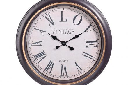 Vintage Αναλογικό Διακοσμητικό Ρολόι Τοίχου σε καφέ χρυσό χρώμα με διάμετρο 60 cm - Aria Trade