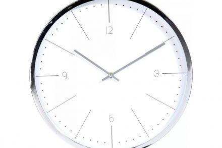 Αναλογικό Διακοσμητικό Ρολόι Τοίχου σε ασημί χρώμα με διάμετρο 40 cm - Aria Trade