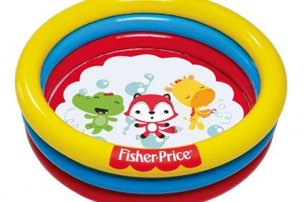 Bestway Fisher Price Φουσκωτή Παιδική Πισίνα παιδότοπος για Εσωτερικό και Εξωτερικό χώρο 91x91x25cm με 25 μπάλες και θέμα Zωάκια